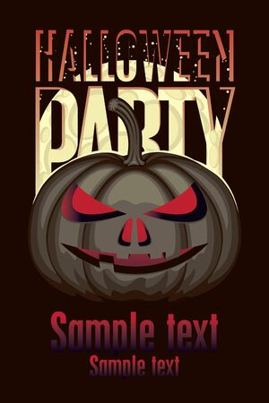 halloween party: banner for halloween party with a pumpkin on a black background Illustration