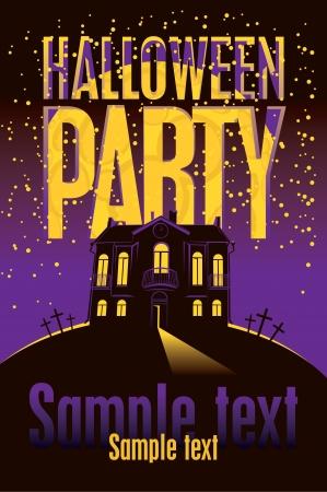 halloween party: Halloween party banner voor het oude huis tegen de maan