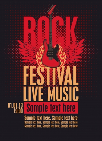 music poster: Billboard Rock Festival with an electric guitar with wings