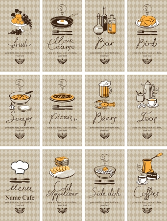 set of business cards with different dishes Vector