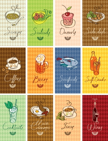 kitchen cartoon: Conjunto de tarjetas de visita con platos diferentes Vectores