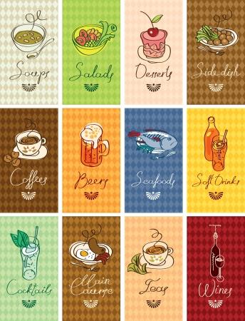 set van visitekaartjes met verschillende gerechten