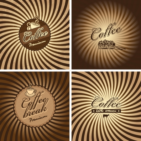 chocoladereep: vier banners voor cafe in retro stijl