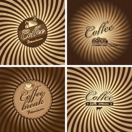 vier banners voor cafe in retro stijl