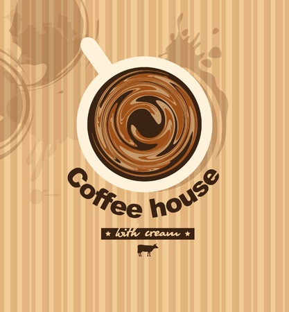 banner with a cup of coffee with milk Vector