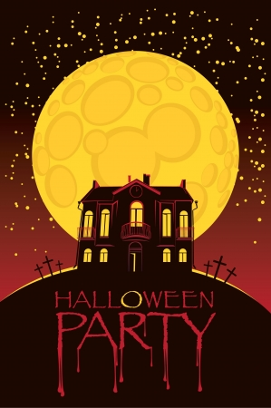 Halloween background with house, bats and full moon  Illustration