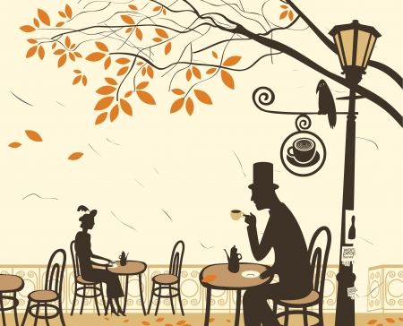 fall in love: Autumn cafes and romantic relationship between man and woman