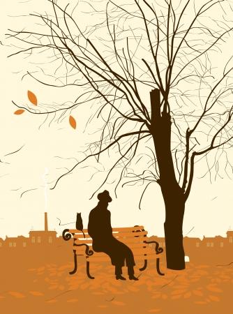 vieil homme assis: homme seul avec un chat dans l'arbre d'automne dans le parc