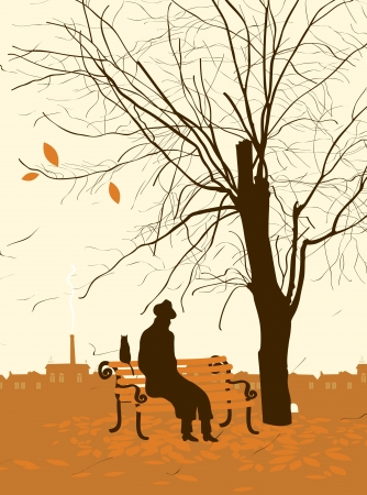 bench alone: single man with a cat in the autumn tree in the park
