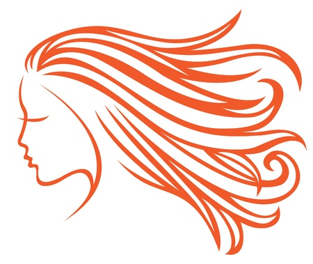 Profile girl with developing hair Vector