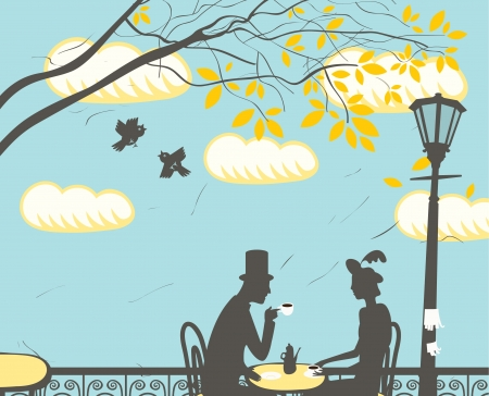 impressionism: loving couple in a city cafe in the clouds