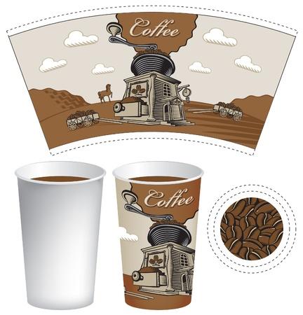 caf�: I piani per una tazza di caff� con un macinino modello Vettoriali