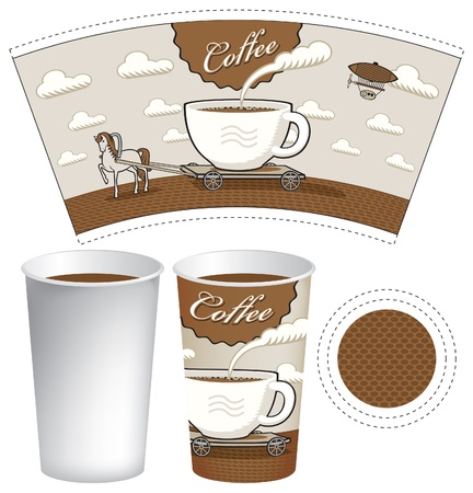 pattern glass patterned horse and cart in the form of a cup of coffee Vector