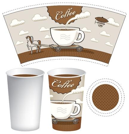 Verre imprimé à motif cheval et une charrette sous la forme d'une tasse de café Vecteurs
