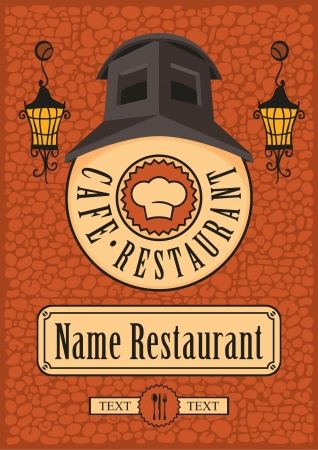 sign for a cafe or restaurant on the wall with a flashlight  Vector