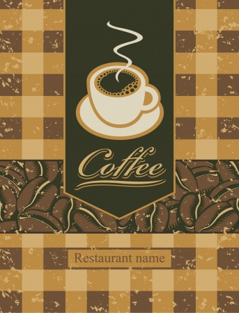 savor: banner with a cup of coffee and beans  Illustration