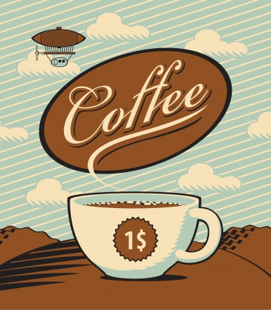 Retro banner with a cup of coffee in the landscape Vector