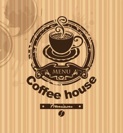 druckerei: Banner mit einer Tasse Kaffee auf einem gestreiften Hintergrund