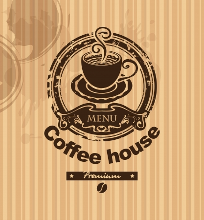 banner with a cup of coffee on a striped background  Vector