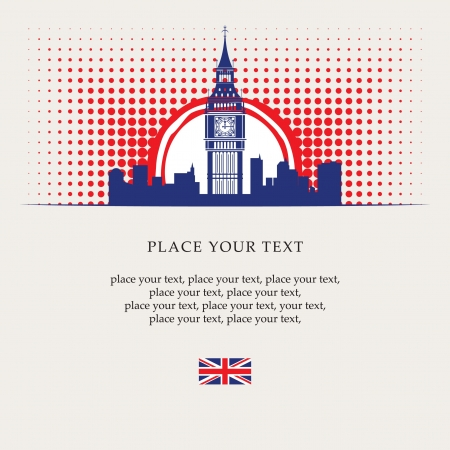 english culture: banner with Big Ben in the sun  Illustration