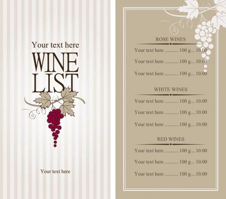 elenchi: carta dei vini con un grappolo d'uva