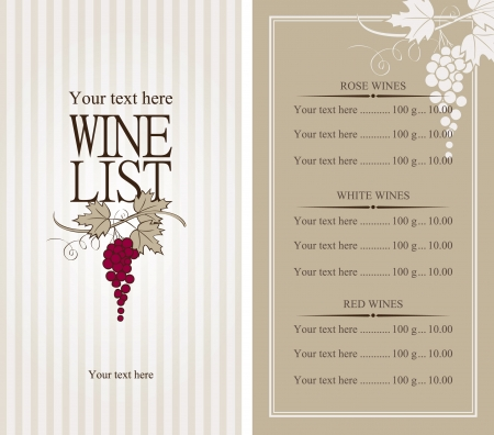 wine label design: wine list with a bunch of grapes Illustration