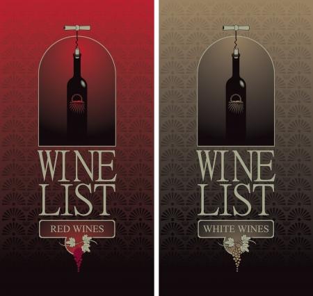 comida gourment: Carta de vinos con una botella con el sacacorchos Vectores