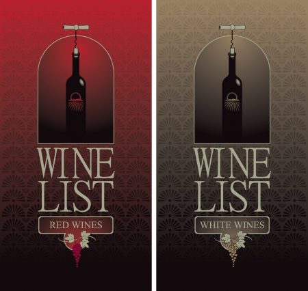 gourmet illustration: wine list with a bottle with the corkscrew  Illustration