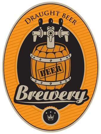 brewery: oval sticker with a barrel of beer  Illustration