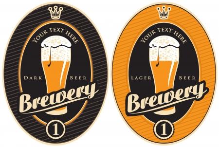 cerveza negra: dos etiquetas para la f�brica de cerveza con una cerveza