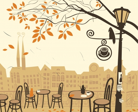 autumn landscape with a street cafe  Vector