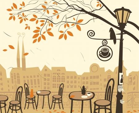 vintage cafe: paesaggio autunnale con un caff� strada