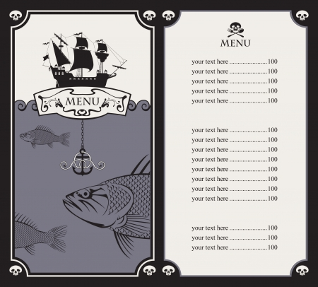 menu with sailboat and a fish in the ocean  Vector