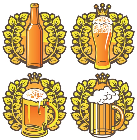 oval  alcohol: four banners on topic with beer glasses, bottle and laurel wreath