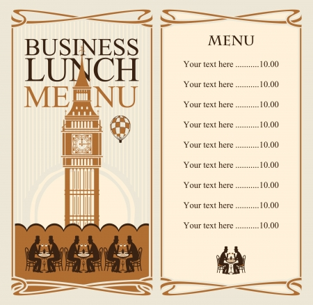 big ben: menu for business lunches with the Big Ben and gentlemen diners  Illustration