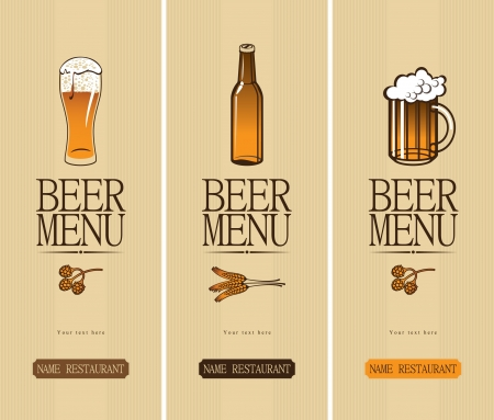 beer label: three banners on the theme of the beer with a glass and a bottle