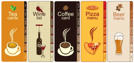 tomato sauce: set of banners with different kinds of dishes  Illustration
