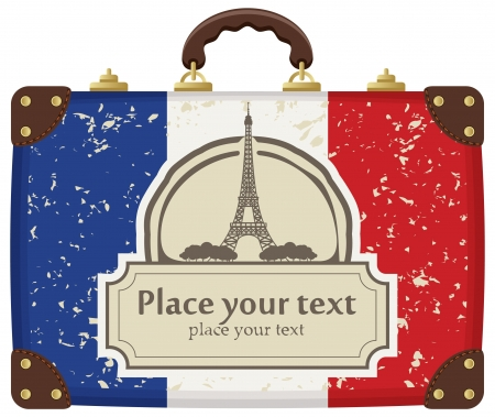european culture: travel bag with the flag of Paris and the Eiffel Tower