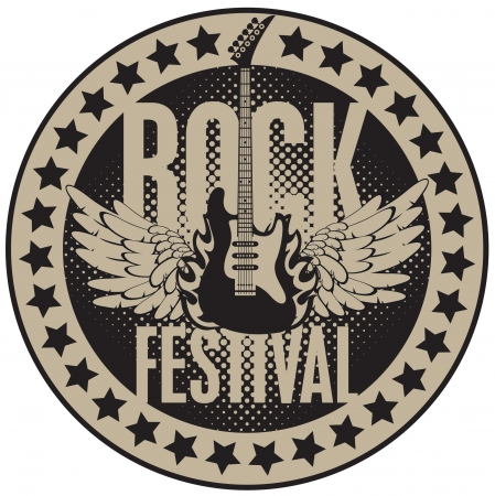 round banner with the guitar for a rock festival  Vector