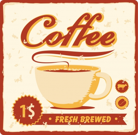 banner with coffee cup in retro style  Vector