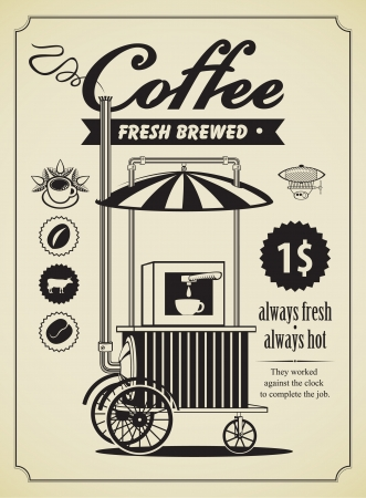 Retro banner with a mobile place to sell coffee  Vector