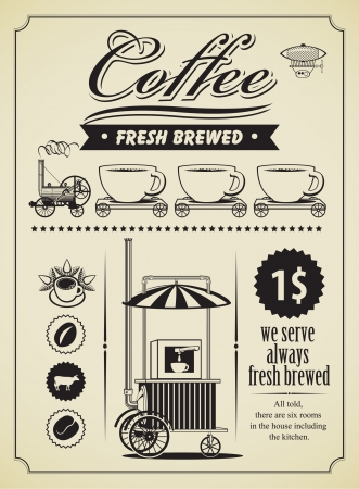 retro coffee theme banner  Vector