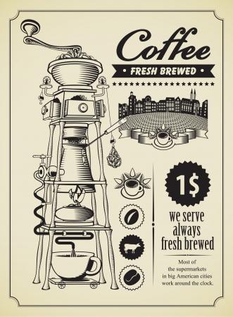 chicchi di caff�: Bandiera retr� con macinino da caff� surreale