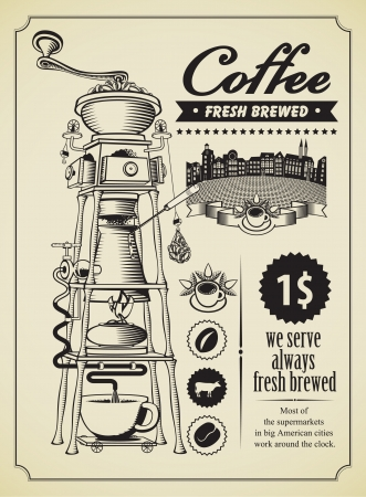 latte art: Retro banner with surreal coffee grinder  Illustration