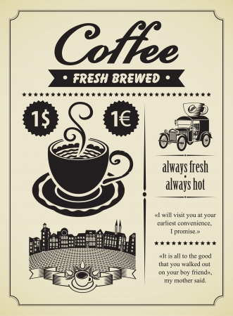 Retro banner with a cup of coffee and a vintage car
