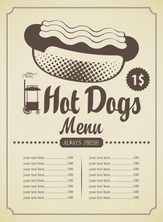 perro caliente: men� de la lista de comida r�pida que ofrece perros calientes