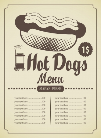 hot dog: menu list for fast food featuring hot dogs