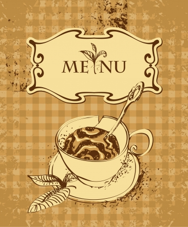 vintage banner with a cup of tea or coffee Vector