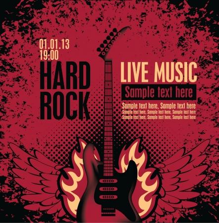 acustica: banner per il concerto con una chitarra elettrica in fiamme Vettoriali
