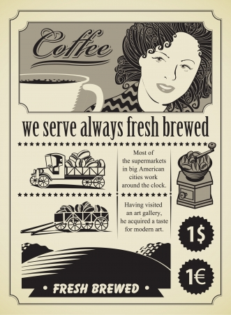 Retro banner for a girl with coffee cup Vector